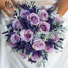 Wedding Bouquet Handmade Bridal Bouquet Purple Artificial Rose