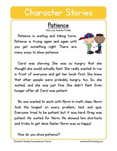 Patience reading worksheets, kids education, character education, english l English Stories For Kids, Moral Stories For Kids, Short Stories For Kids, English Lessons, Learn English, Kids English, English English, Social Stories, Reading Comprehension Worksheets
