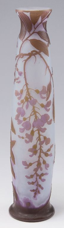 Legras & Cie., Saint-Denis. 'Glycines' vase, 1900-14. H. 46 cm. Cased glass, milk white opalescent, clear, purple and brown. Multiply etched pattern with wisteria. Signed: Legras.