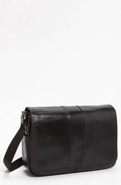 Men's Bosca Leather Messenger Bag - Black