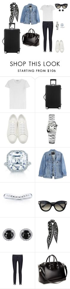 """""""Sem título #1927"""" by analuli on Polyvore featuring moda, James Perse, Rimowa, Yves Saint Laurent, Cartier, Tiffany & Co., Y/Project, Elsa Peretti, Valentino e Reeds Jewelers"""