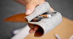 Pencil leather case / pen-box / pencil-box / pencil-case // BRINE // from natural leather and wool felt (Brown)