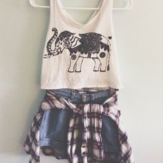 Love This Print & Plaid Teenage Outfit Look !