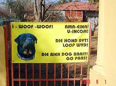 """From an email doing the rounds… You've just got to love South Africa!! Here's an extra pic sent in by Jan Taljaard who now lives in New Zealand. He says: """"Na aanleiding van julle fotos…. Net een uit N Zealand. Weet nie of die Kiwis die humor raaksien nie. Groete."""" A shop owner in Brakpan, I Am An African, Living In New Zealand, Afrikaans Quotes, Twisted Humor, Funny Signs, True Words, South Africa, Funny Animals, Funny Quotes"""