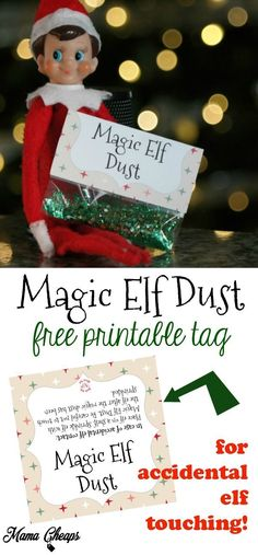 Magic Elf Dust Free Printable for When Elf on the Shelf is Touched https://www.mamacheaps.com/2017/11/magic-elf-dust-free-printable-elf-shelf-touched.html