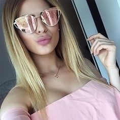 43c46a3c0dd crazy cat lady glasses - Large-Oversized-Cat-Eye-Sunglasses-Metal-Frame -Flat-Mirror-Lens-Women-Fashion Rose Gold Mirrored -- Details can be found  by ...