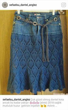 Denim jeans as skirt yoke for a crochet pineapple lace skirt. Юбочка из старых джинсов (результат), Denim jeans as skirt yoke for a crochet pineapple lace skirt. Юбочка из старых джинсов (результат) Denim jeans as skirt . Crochet Skirts, Crochet Clothes, Crochet Woman, Diy Crochet, Beach Crochet, Beginner Crochet, Crochet Tunic, Crochet Fashion, Diy Fashion