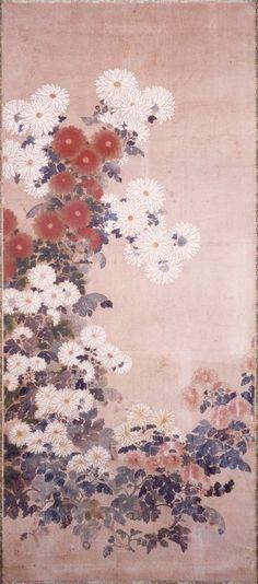 Chrysanthemums. Tawaraya Sotatsu (俵屋宗達). Rinpa School. Edo Period. 17thC. British Museum.