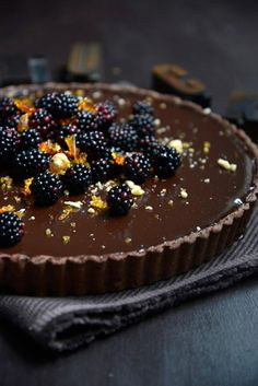 Dark Chocolate Tart With Blackberries Recipe