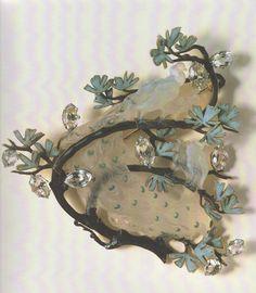 Glass peacock brooch. Rene Lalique (1860-1945). Ca. 1902-1903.Gold, enamel, glass, diamonds, white sapphires.5.5cm.