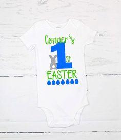 e3ec527f62a8 Baby boy blue chevron 1st Easter onesie