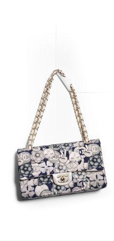 Classic flap bag, printed fabric & light gold metal-navy blue & gray - CHANEL
