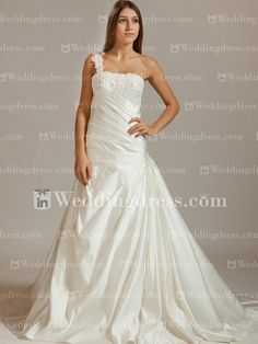 Satin One-Shoulder Wedding Dress with Lace  http://www.inweddingdress.com/