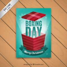 Boxing day card Free Vector
