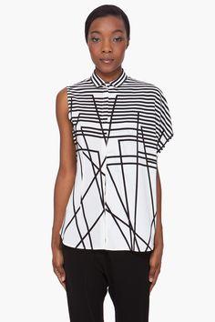 NEIL BARRETT White Striped Silk Blouse
