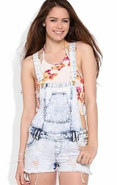 Deb Shops Acid Wash Shortall with Frayed Hem and Gold Hardware $20.00