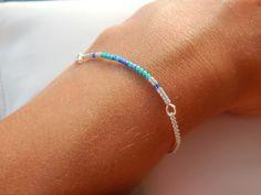 """Bracelet """"Fanny"""" Perles Miyuki turquoise bleu et argenté : Bracelet par bijou-lie"""