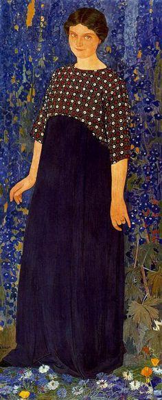 """""""Lady in Blue"""", c. 1910, by Ernest Biéler (Swiss, 1863-1948)"""