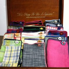 Armstrong and Wilson pocket squares- Love the buttons! great idea of adding additional flair
