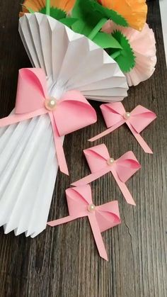 Paper Flowers Diy, Diy Paper, Paper Crafts, Diy Crafts For Gifts, Creative Crafts, Crafts For Seniors, Crafts For Kids, Pink Flamingo Party, Kids Origami