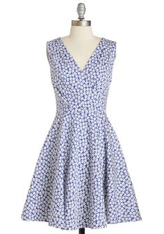 Lovely as a Lily Dress - Cotton, Woven, Blue, White, Floral, Print, Pleats, Pockets, Casual, Sundress, A-line, Sleeveless, Spring, Summer, V Neck
