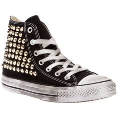 CONVERSE LIMITED stud detail hi-top (435 CAD) ❤ liked on Polyvore featuring shoes, sneakers, converse, sapatos, zapatos, high top trainers, studded high top sneakers, converse shoes, hi tops and metallic shoes
