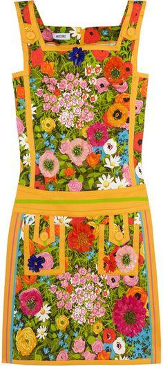 MOSCHINO/Floralprint Cotton Blend Mini Dress - Lyst