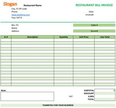 restaurant bill invoice template