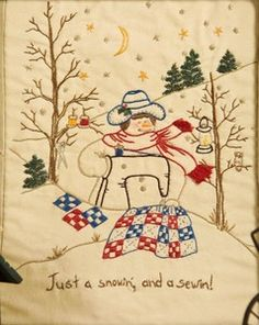 Just A Snowin and A Sewin-Quilting Snowladies-Chickadee Hollow Hand embroidery designs to embellish your quilting creativity! Hand Embroidery Designs, Embroidery Applique, Embroidery Stitches, Embroidery Patterns, Quilt Patterns, Stitching Patterns, Block Patterns, Vintage Embroidery, Christmas Embroidery
