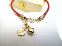 14K solid yellow gold anchor heart charms red leather bracelet nautical love new