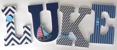 Sailboat Sailing Custom Decorated Wooden Letters, Personalized Nursery Name Décor, Baby Boy Bedroom, Wood Wall Decorations, Baby Shower Gift on Etsy, $25.00