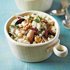 Mediterranean Barley Salad Recipe | Full of whole grains and veggies. High fiber = you'll be full until dinner.
