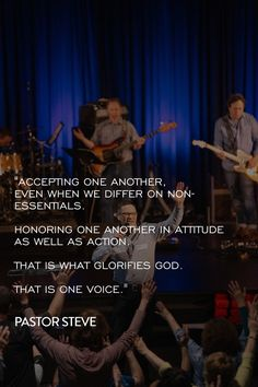 """""""May the God who gives endurance and encouragement give you the same attitude of mind toward each other that Christ Jesus had, so that with one mind and one voice you may glorify the God and Father of our Lord Jesus Christ."""" - Romans 15:5-6 NIV  Accepting one another, even when we differ on non-essentials. Honoring one another in attitude as well as action...  That is what glorifies God. That is ONE voice.  Pastor Steve's message from Sunday is available online NOW…"""