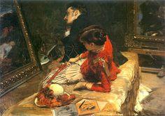 Leon Wyczółkowski (Polish 1852–1936, Warsaw) [Polish Realism, Młoda Polska] Obrazek jakich wiele. 1883. Olej na płótnie. Własność prywatna.