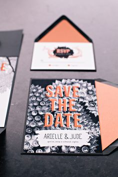 Orange and black punk rock wedding invitations | Two Spoons Photography | see more on: http://burnettsboards.com/2014/06/vintage-vinyl-denim-donuts-punk-chic-style/