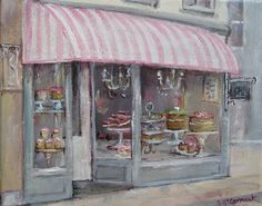 """""""The French Cake Shop"""" by Gail McCormack, Australia Shabby Chic Art, Let's Make Art, French Cake, Pastry Shop, Painting Gallery, Cake Shop, Vintage Images, Original Paintings, Rose Paintings"""