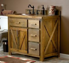 This would be neat for the Master Bathroom  remodel: Reclaimed Barn Wood Vanity made from real reclaimed barnwood