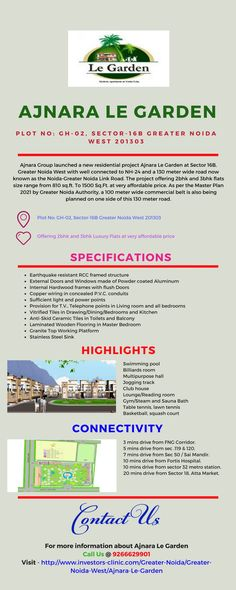 Ajnara Group launched their new project Ajnara Le Garden in Greater Noida West that is crafted remembering the various desires of the clients. The project is present first-class amenities with 2 and 3bhk flats at one spot to the clients to enjoy all the required comforts. These apartments might be available at the most reasonable prices. More information visit - http://www.investors-clinic.com/Greater-Noida/Greater-Noida-West/Ajnara-Le-Garden