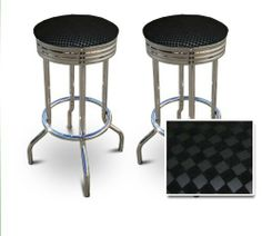 "2 24"" Black Checkered Fabric Themed Specialty / Custom Barstools Set [Kitchen] by The Furniture Cove. $154.87. Set of 2 Bar Stools. Chrome Metal Finish. These are new, 24 inch, chrome, specialty barstools. They have footrests and a swivel seat. The seat is made of a Black Checkered Fabric upholstery. The sides of the seat have nice metal work and there are feet protectors on the bottom of each leg. These are great for kitchen or shop, or spread around a game room or patio set..."