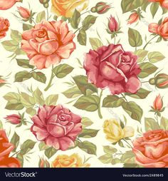 Vector image of Rose seamless background Vector Image, includes background, wallpaper, retro, seamless & style. Illustrator (.ai), EPS, PDF and JPG image formats.