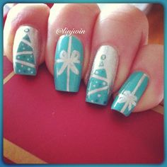 Christmas nail art, I would use different colors