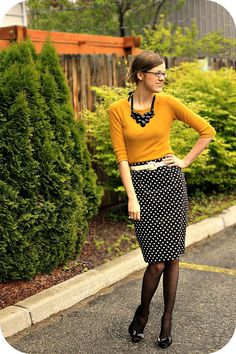Mustard with Black & White Polka Dots