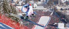 The Hahnenkamm Race at Kitzbühel is the world's most famous – and ferocious – downhill ski event. The view from the start house on the Streif course at Kitzbühel is one of the most frightening in sports. Below the tips . January 2016, December, Downhill Ski, Snow Skiing, Family Vacations, Racing, Mountains, World, Tips