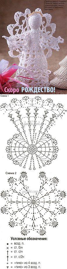 Holiday Crochet Patterns, Crochet Doily Patterns, Crochet Doilies, Crochet Christmas Decorations, Crochet Ornaments, Christmas Crafts, Crochet Angels, Angel Decor, Crochet Bookmarks
