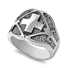 Polished Stainless Steel Cross Ring  size14 -- Click on the image for additional details. Note: It's an affiliate link to Amazon.