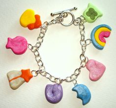 I adore polymer clay faux foods, but this lucky charms bracelet is extra special!