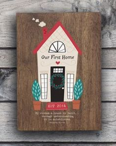"Our Home Wood Decor | $20 | Personalize ""Our First Home"" line and EST date. Message reads: By wisdom a house is built...through understanding it is established. Proverbs 23:3 NIV."
