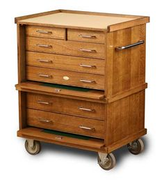Gerstner - Rolling tool chest - Golden Oak with Nickel Hardware