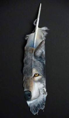 WOLF & MOON ON A FEATHER <3