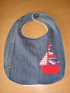 Baby bib handmade from recycled denim jeans and recycled toweling. Pres stud fastening and finished with vintage button. Made Individually to order. Denim Crafts, Recycled Denim, Binky, Baby Bibs, Baby Items, Couture, Sewing Projects, Recycling, Applique